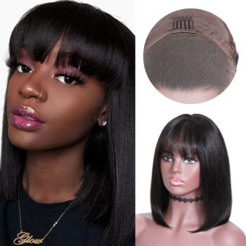 straight bob wig with bangs 180% Density
