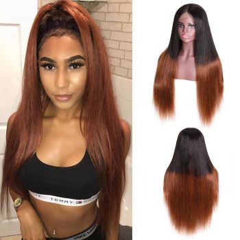 Donmily Straight 13X6 Lace Frontal Wig 150 Density Color T1B4