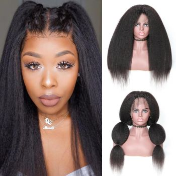 360 Lace Wig Kinky Straight 180% Density Virgin Human Hair