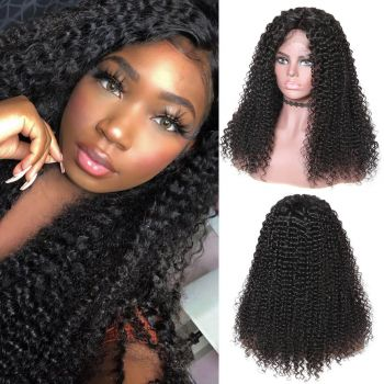 Jerry Curly 4*4 Lace Front Wig 180% Density Malaysian Hair