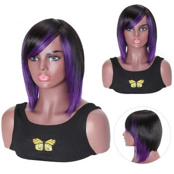 Purple BoB Wigs Machine Made