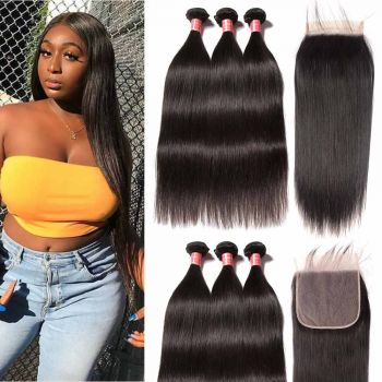 Donmily Brazilian Straight 3 Bundles with  7x7 Lace Closure