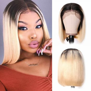 13X4 Bob Wig 130% Density With Color T1B613