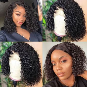 Donmily Jerry Curly Bob Lace Front Wigs 130% & 150% &180% Density, 13*4 Lace Front Wigs With Baby Hair