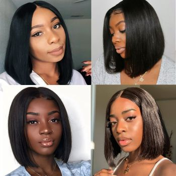 "13*4 Lace Front Wig Straight Bob Middle Part 130% & 150% Density, Length 8""-14"", 100% Virgin Human Hair Wig-Donmily Hair"