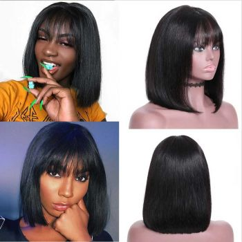 Domily 13x4 Lace Front Bob Wig with Bangs 150% Density