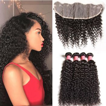 Donmily 4 Bundles Curly Hair with 13x4 Lace Frontal Closure