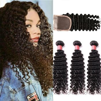 Donmily 3pcs Deep Wave Indian Hair Bundles With Lace Closure(Free Part)