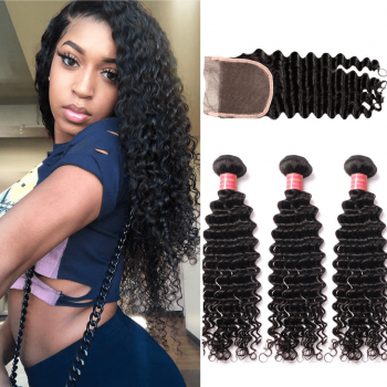 Donmily Virgin Deep Wave 3 Bundles With Lace Closure (Free Part)