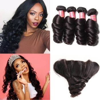 Donmily Brazilian Loose Wave 4 Bundles with 13X4  Lace Frontal Closure Human Hair