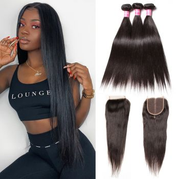 Donmily 3 Bundles Peruvian Straight Human Hair with 4*4 Lace Closure