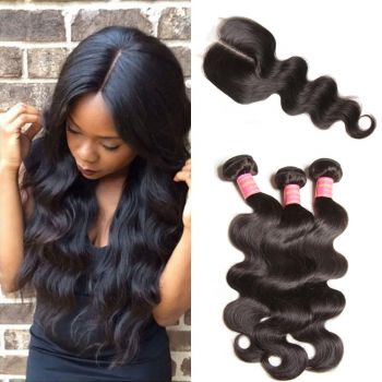 Donmily Brazilian Body Wave Hair 3 Bundles with Closure (Middle Part)