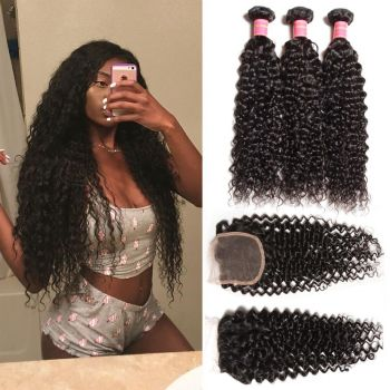 Donmily Malaysian Curly Hair 3 Bundles with 13x4 Lace Closure