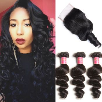 Donmily 3 Bundles Brazilian Loose Wave with Free Part Lace Closure