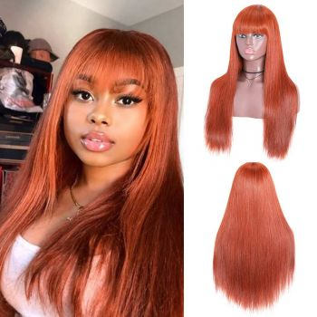 Donmily Straight Wig With Bangs Color 33# Machine Made