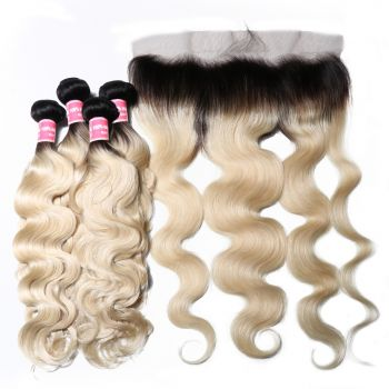 Donmily 4 Bundles T1B613 Colored Virgin Hair with 13x4 Inch Lace Frontal