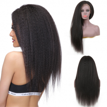 Brazilian 13*4 Lace Front Kinky Straight Wig 130% Density With Baby Hair