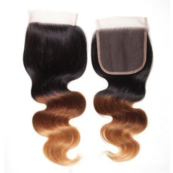 Donmily Ombre Color T1B/4/27# Body Wave Lace Closure, 4*4 Free Part Closure 1pc