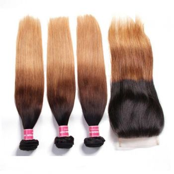 Ombre Color T1B427 Straight Hair 3 Bundles with Closure Free Part 4x4 Lace Closure Virgin Human Hair