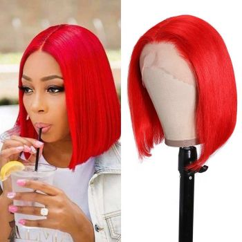 Donmily Red Color Bob Lace Front Wig Pre Plucked 150% Density Human Hair