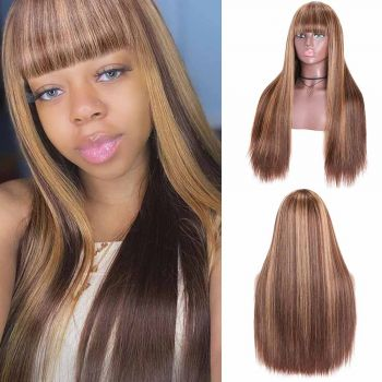 Machine Made Highlight Straight Wigs With Bangs