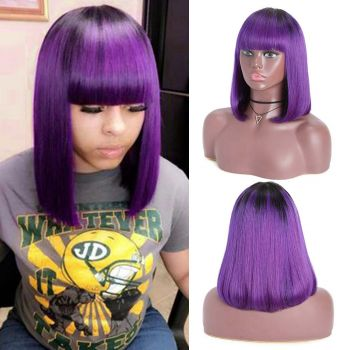 Machine Made Ombre Purple 12 inch Bob Wig