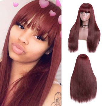 Straight Wigs With Bangs Color 99J