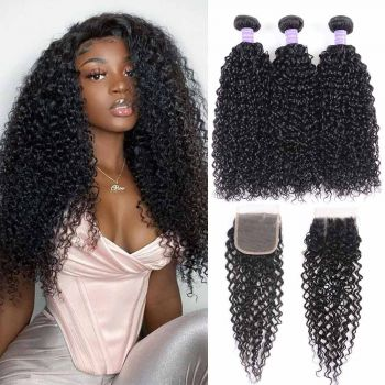 jerry curly 3 bundles with 4*4 lace closure