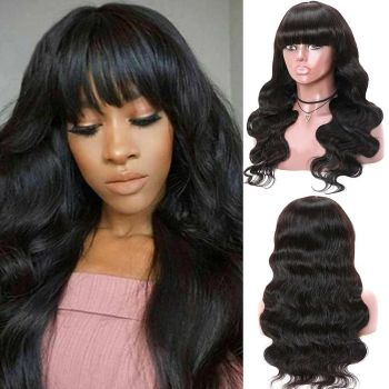 Donmily Machine Made Wigs With Bangs Body Wave Human Hair Wigs 150% Density Human Hair