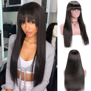 Donmily Machine Made Straight Hair Wigs With Bangs Virgin Human Hair Wig 150% Density