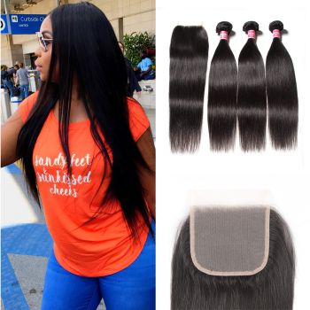 Donmily Best Virgin Straight Hair 3 Bundles With 4x4 Inch Transparent Lace Closure