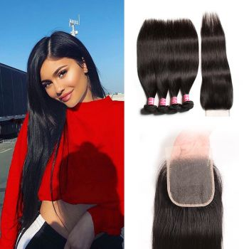 Donmily New Virgin Straight Hair 4 Bundles With 4x4 Inch Transparent Lace Closure