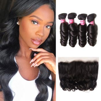 Donmily Loose Wave Lace Frontal Closure With 4 Bundles Virgin Human Hair