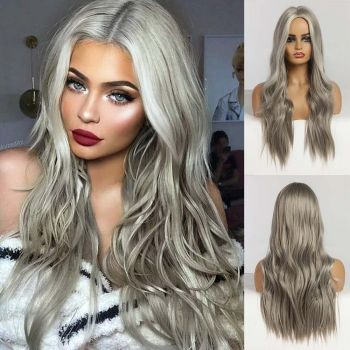 Donmily Loose Wave Hair Wig Fashion Gray Color Synthetic Hair Wigs