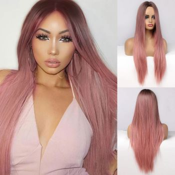 Donmily Straight Hair Wig Pink Color Synthetic Hair Wigs