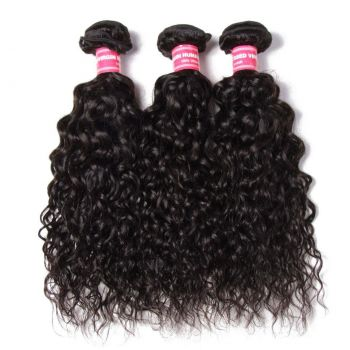 Donmily 3 Bundles Peruvian Water Wave with 4x4 Lace Closure