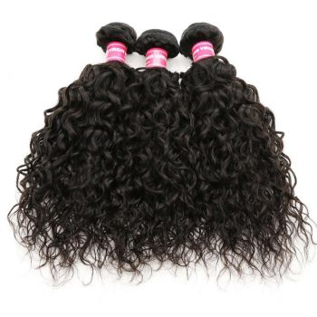 Donmily 3 Bundles Brazilian Water Wave with 4x4 Lace Closure