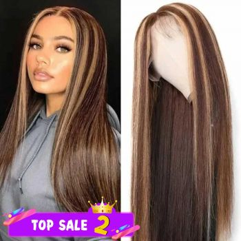 Donmily Highlight Color 13x4 Straight Lace Front Human Hair Wigs With Baby Hair Pre-plucked 150% Density