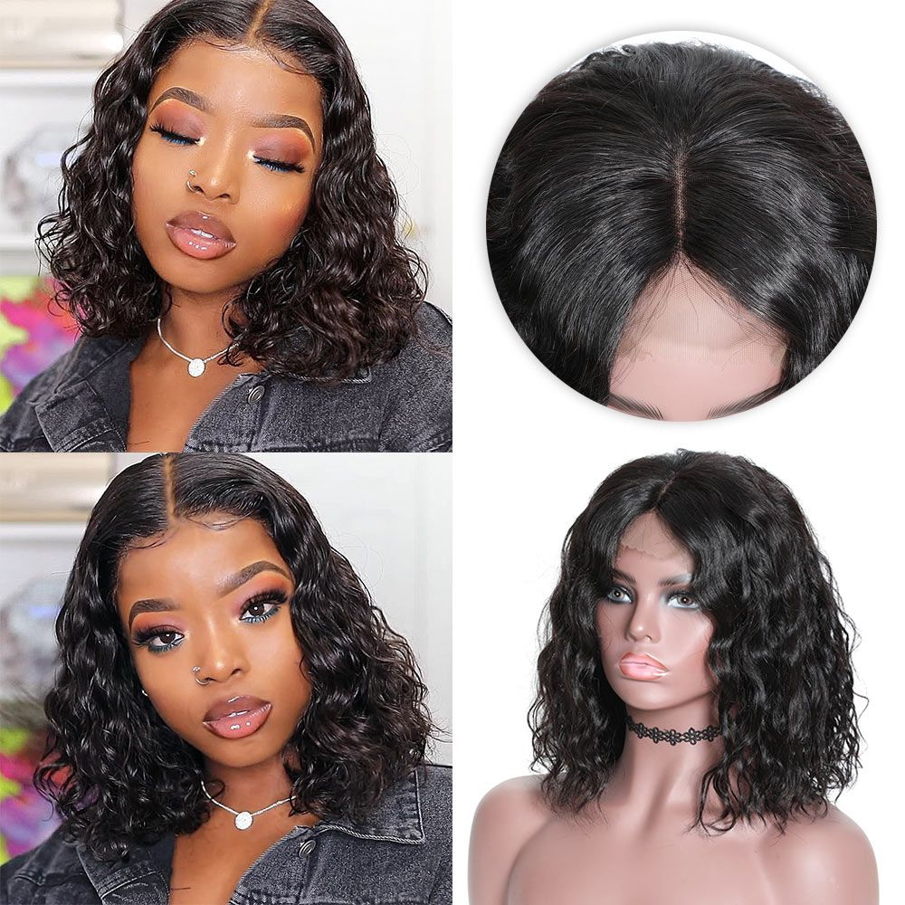 13 4 bob water wave lace front wig