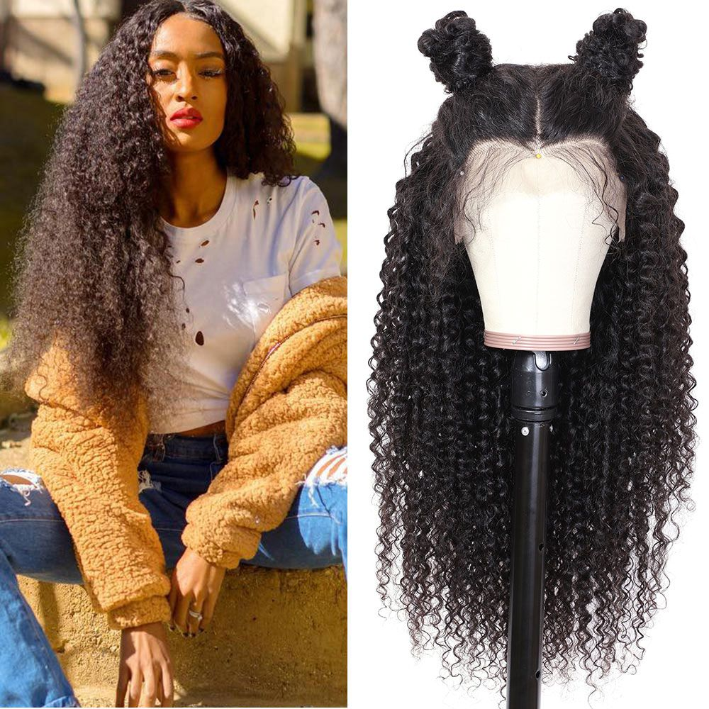 transparent jerry curly 13 4 lace front wig 150 density