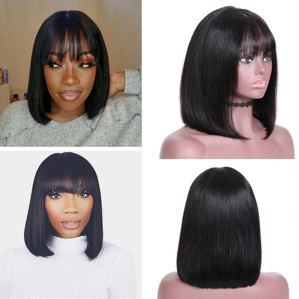13 4 lace front straight bob wig with bangs