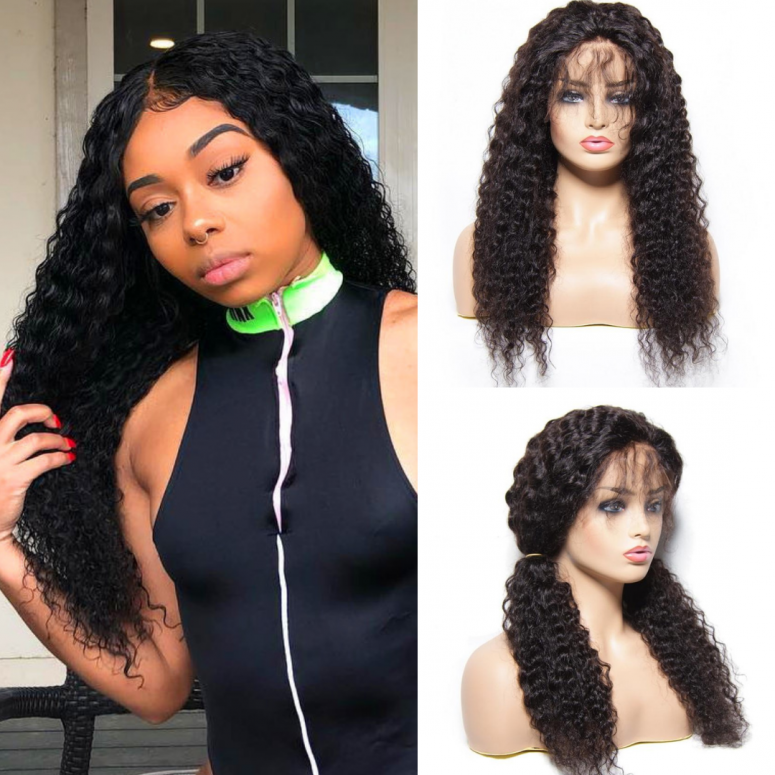 Donmily 130% & 150% Density Jerry Curly 13*4 Lace Front Human Hair Wigs With Baby Hair, 8''-24'' Brazilian Hair Wigs