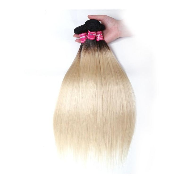 "1 Bundle Ombre Color T1B/613 Straight Hair Weave 10""-20"", 100% Human Hair Weave-Donmily"