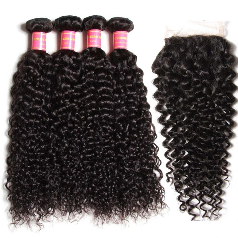 Donmily Hair Virgin Brazilian Curly Hair 4 Bundles with 4*4 Lace Closure on Sale