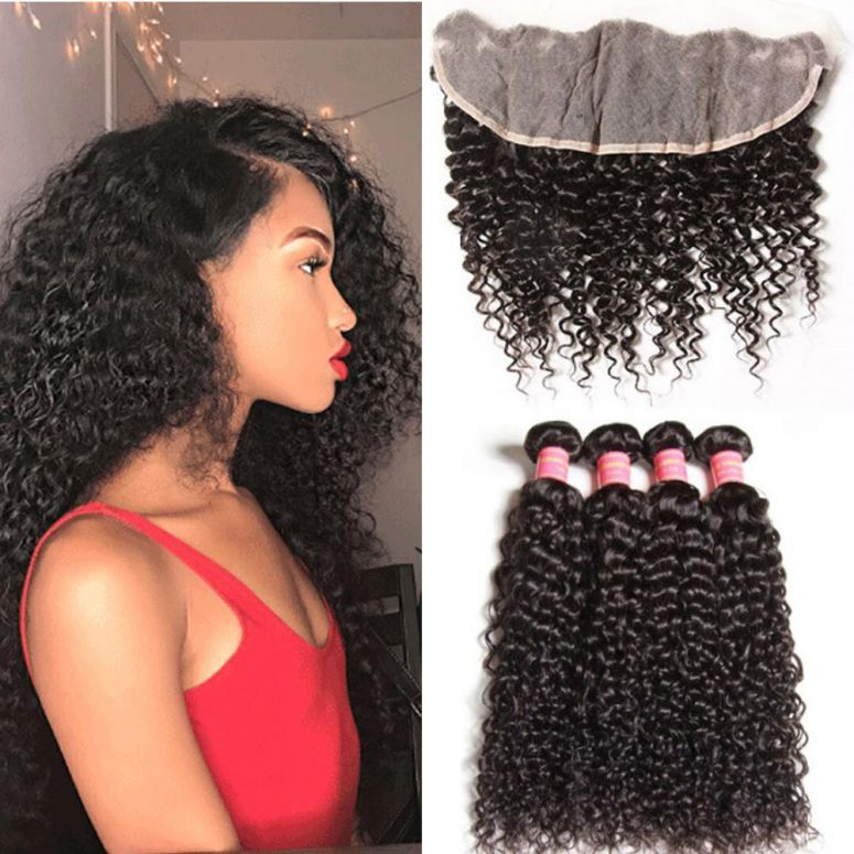 Donmily 4 Bundles Virgin Brazilian Curly Hair Weave With 13*4 Lace Frontal Closure