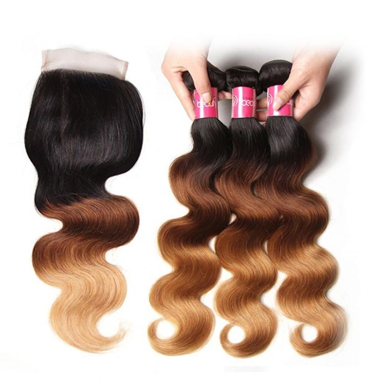 Donmily Ombre T1B/4/27 Body Wave 3 Bundles with Closure Free Part 4x4 Lace Closure Remy Human Hair