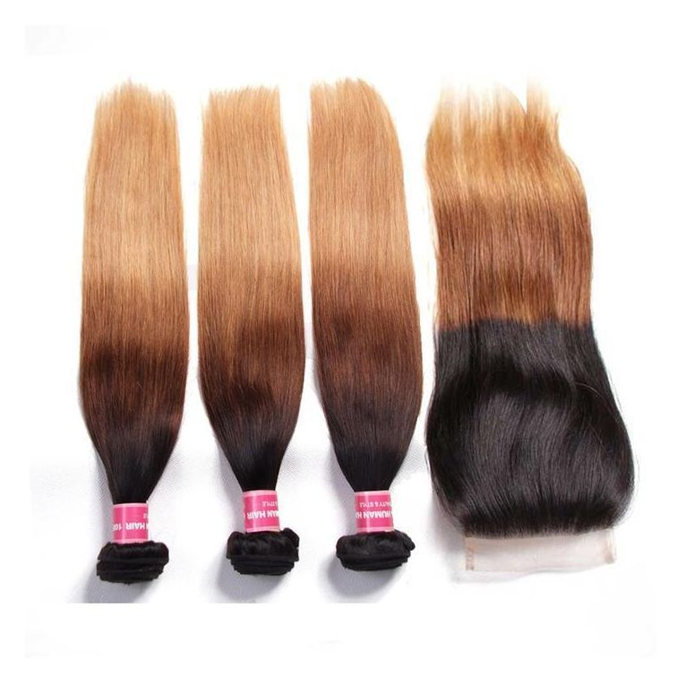 Ombre Color T1B/4/27 Straight Hair 3 Bundles with Closure Free Part 4x4 Lace Closure Virgin Human Hair