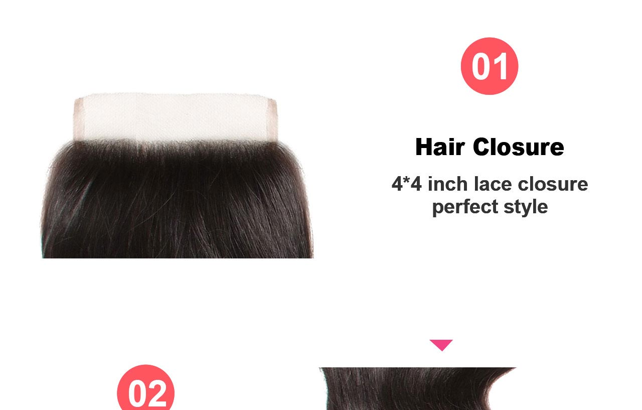 body wave hair closure feature