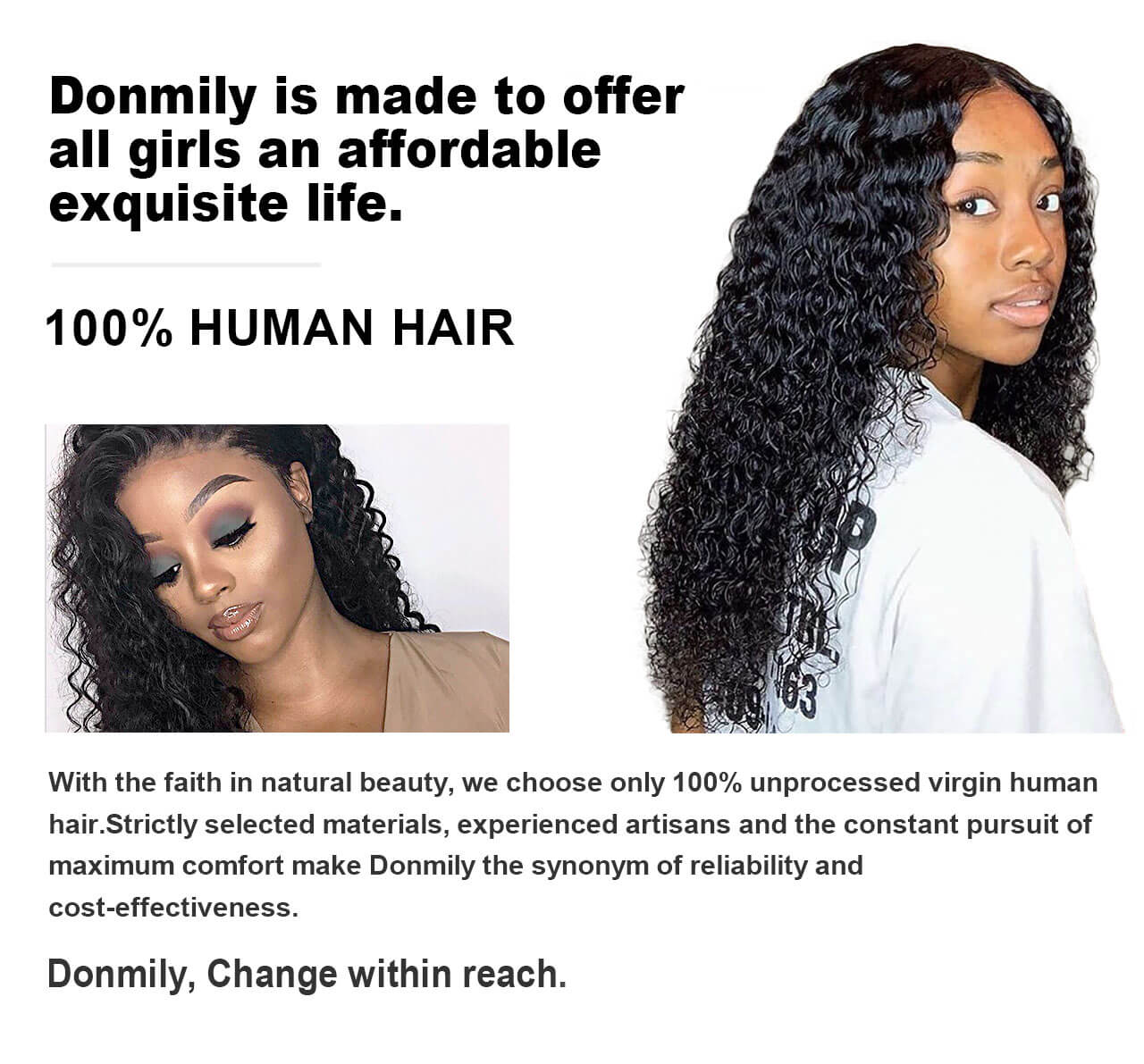 donmily 100% human hair
